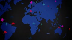 Vector Boats - Worldwide - Trees growing - map of the world - black backgroun Stock Footage