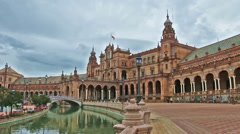 Wide shot of the main building on Plaza de Espana, Seville (2) Stock Footage