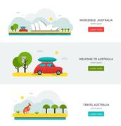 Travell Roads in Australia. Road Trip on Car Stock Illustration