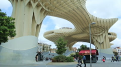 Wide-anlge view of the Metropol Parasol in Seville Stock Footage