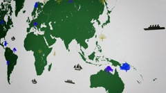 Vector Boats - Worldwide - Trees growing - map of the world - white backgroun - stock footage