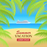Summer Vacation on Seaside Concept Illustration - stock illustration