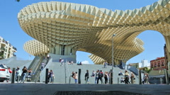 Wide-anlge view of the Metropol Parasol in Seville (3) Stock Footage