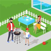 Father and Son Preparing Barbecue Stock Illustration