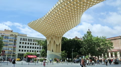 Wide-anlge view of the Metropol Parasol in Seville (2) Stock Footage