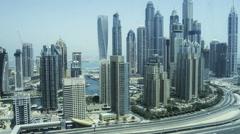 Time lapse of traffic near the Dubai Marina Stock Footage