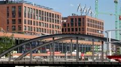 Hamburg Hafencity Busanbruecke - a modern german city Stock Footage
