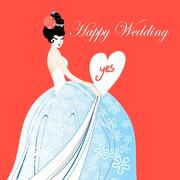 Wedding card with a lovely bride Stock Illustration