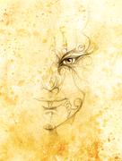 Mystic man face with floral ornament. Drawing on paper, Color effect. Eye Stock Illustration