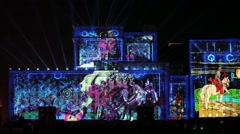 "International Festival ""Circle of Light"". Laser video mapping show on facade of Stock Footage"