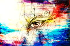 mystic eye with floral ornament. Drawing on paper, Color effect. Eye contact - stock illustration