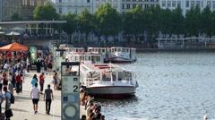 Hamburg City Center Jungfernstieg Alster Boats Stock Footage