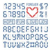 Digital font latin alphabet letters and numbers - stock illustration