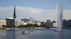 Hamburg City Binnenalster Panorama at daylight Stock Footage