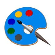 Palette with paints and brush in vector Stock Illustration