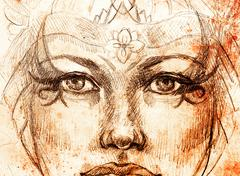 mystic woman drawing with ornament, eye contact - stock illustration