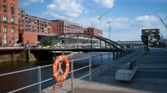 Hamburg HafenCity Elbarkaden and BusanBruecke Stock Footage