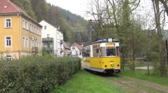 Station car shunting works at the lower Kurpark terminus of the tramline Stock Footage