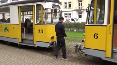 Tram shunting works at the Kurpark terminus. Cars' automated coupling Stock Footage