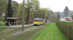 Motorcar shunting traffic at the lower Kurpark terminus of the tramline Stock Footage
