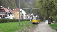 A train to Lichtenhainer Wasserfall depats from the Kurpark terminus Stock Footage