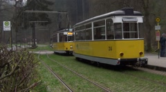 Car shunting works at the Lichtenhainer Wasserfall terminus of the tramline Stock Footage