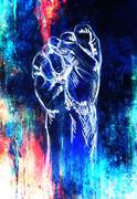 Fist drawing, pencil sketch on paper, Color effect Stock Illustration