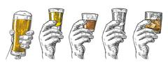 Male hand holding a glasses with beer, tequila, vodka, rum, whiskey and ice c - stock illustration