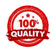 100 percentages quality and stars, grunge drawn circle label. - stock illustration