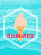 summer with ice cream in hexagon frame over blue waves, grunge drawn label - stock illustration