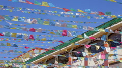 Tibetan Prayer Flags flapping in the wind Stock Footage