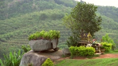 Thailand Spirit House ,San Phra Phum, Rean Tevoda, Pteah Phum, in Green - stock footage