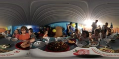 360Vr Video Kids Eat Sweets Parents Serve a Food in Kindergarten Children's Day Stock Footage