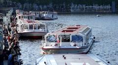 Hamburg City Centre Jungfernstieg Alster Boat Stock Footage
