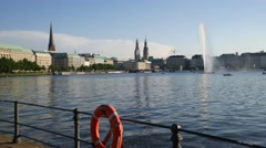 Hamburg City Centre at Alster Lake with Life Saver Stock Footage