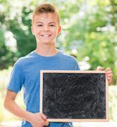 Boy back to school - stock photo
