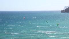 Kite zone. Kiters in action in Costa Blanca, Benidorm. Stock Footage