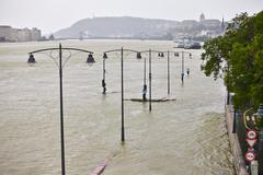 Flooded street view Stock Photos