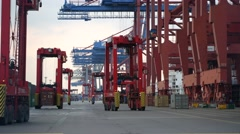 Straddle carrier in Hamburg harbour Stock Footage