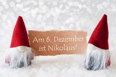 Red Gnomes With Card, Nikolaus Means Nicholas Day - stock photo
