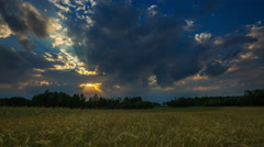 Beautiful summer fields with storm weather, 4k timelapse Stock Footage