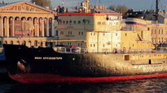 Icebreaker Ivan Kruzenshtern Moored In Center Of Saint-Petersburg City Stock Footage