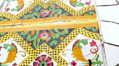 Dolly of Ceramic tiles in Antoni Gaudi's Park Gaell, Barcelona, Spain Stock Footage