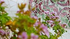 Dolly of Ceramic tiles in Antoni Gaudi's Park Gaell, Barcelona, Spain Stock Footage