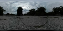360Vr Video People Silhouettes in Park Alley Dusk Cracked Asphalt Grass in - stock footage
