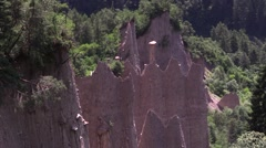 Group of Earth Pyramids without boulder Stock Footage