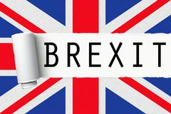 uk england great britain flag with word brexit on ripped torn paper - stock illustration