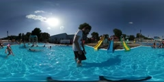 360Vr Video Man Kids Aqua Park in Opole Opening Day Man Has Got to Hold a - stock footage