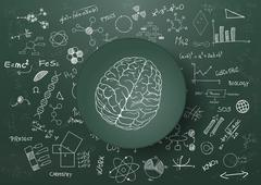 illustration of brain and science graphic on chalkboard - stock illustration