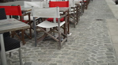 Cafe outdoor near the sea in the early morning without clients Stock Footage